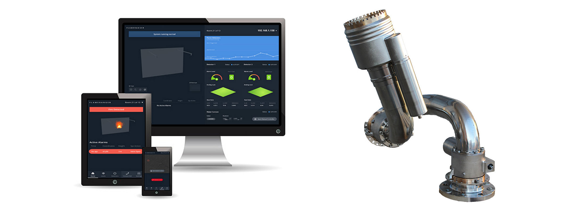Unifire Internet Control and Graphical User Interfaces for Force robotic nozzle fire monitor water cannon control